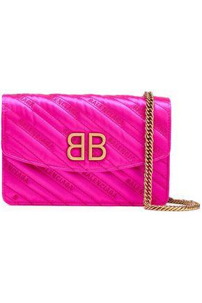 BALENCIAGA BB embroidered quilted satin shoulder bag