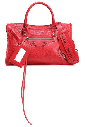 BALENCIAGA Printed cracked-leather shoulder bag