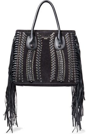 BALMAIN Fringed whipstitched suede tote