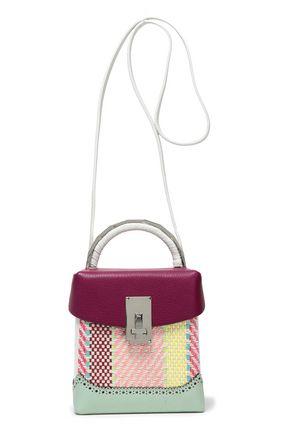 THE VOLON Paneled pebbled-leather and jacquard shoulder bag