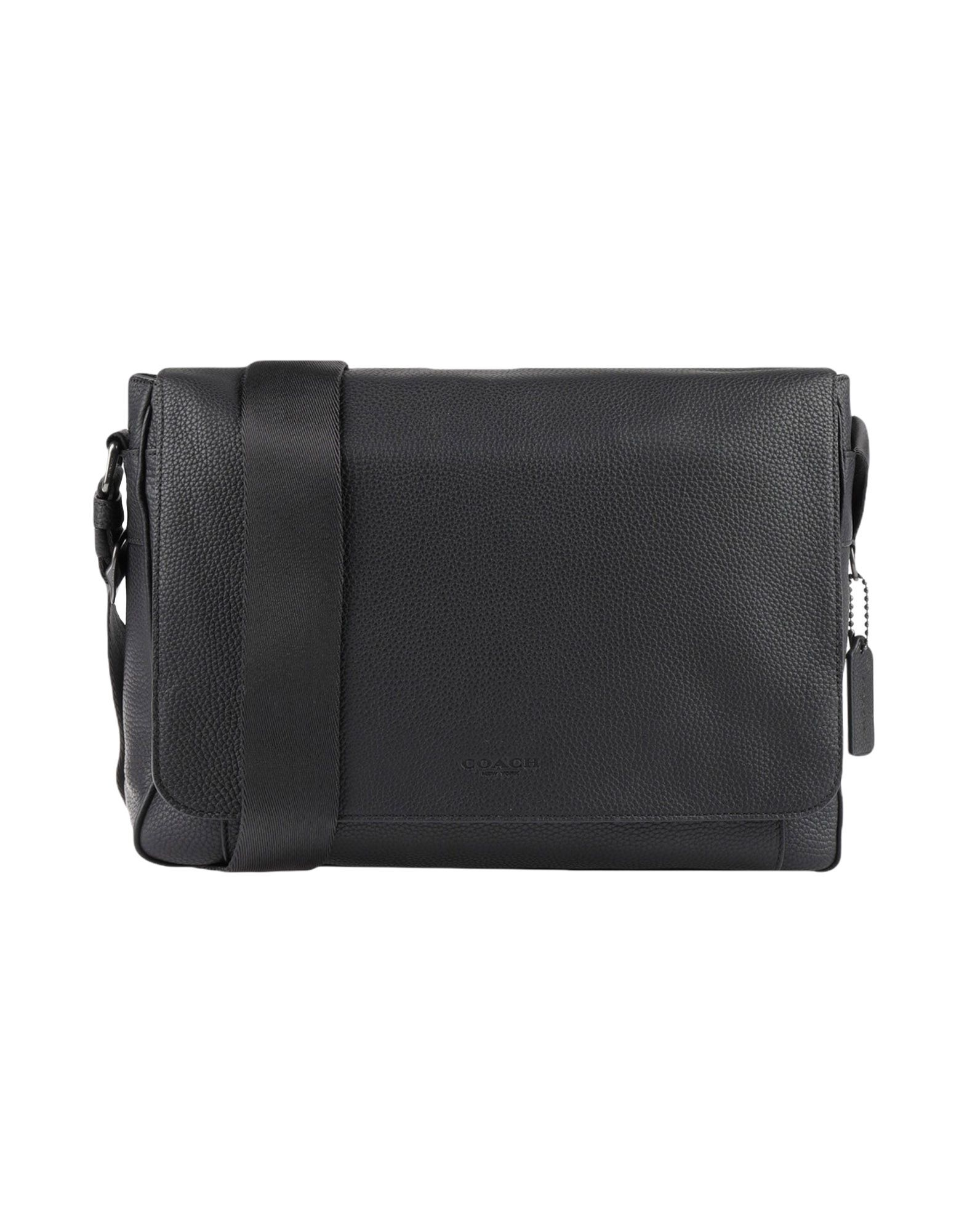 COACH Work Bags. textured leather, logo, solid color, magnetic fastening, internal pockets, adjustable shoulder strap, fully lined, medium, contains non-textile parts of animal origin. Soft Leather
