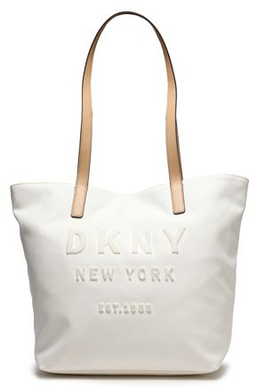 DKNY Leather-trimmed flocked canvas tote