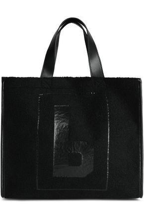 MM6 MAISON MARGIELA Faux leather-trimmed faux shearling tote