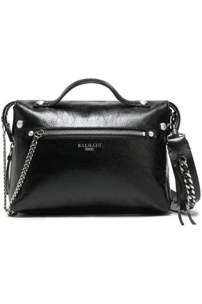 BALMAIN Chain-trimmed glossed textured-leather shoulder bag