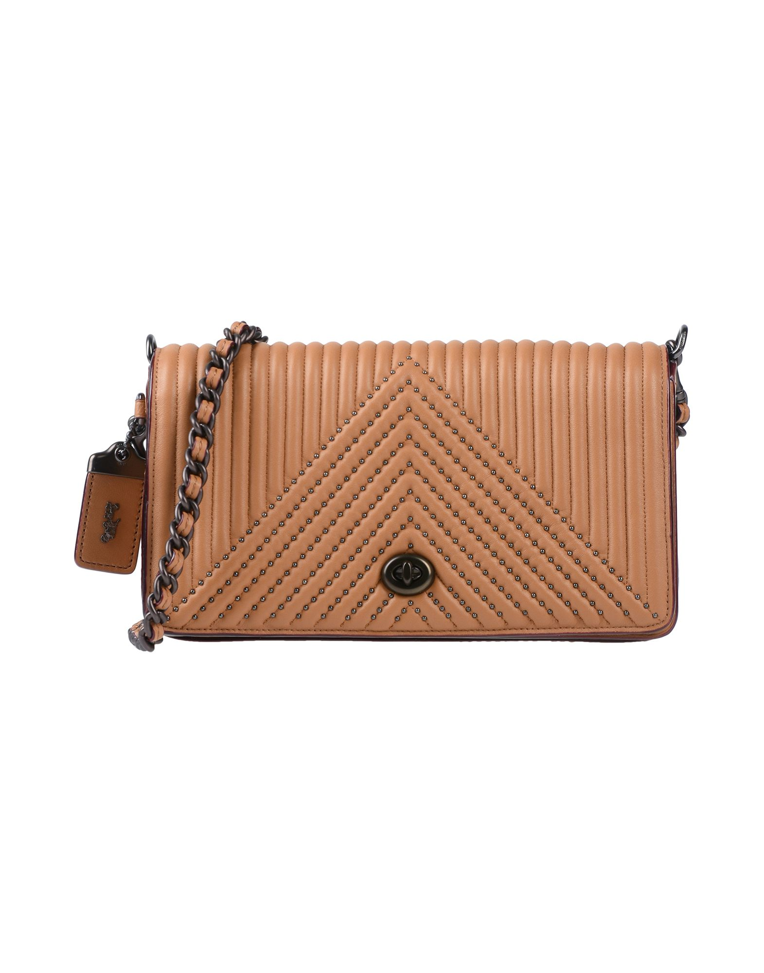 COACH Handbags. mini, leather, quilted, metal applications, solid color, framed closure, external pockets, internal pockets, removable shoulder strap, metallic straps, unlined, contains non-textile parts of animal origin. Soft Leather