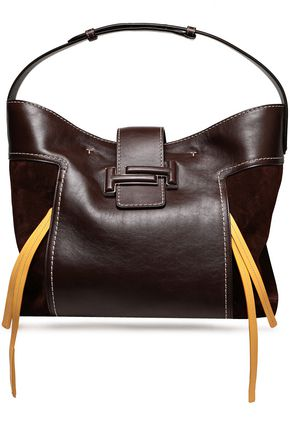 TOD'S Suede-paneled leather tote