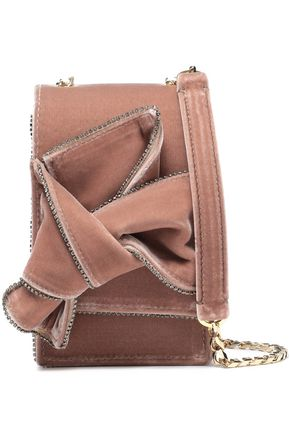 N°21 Knotted crystal-embellished velvet shoulder bag