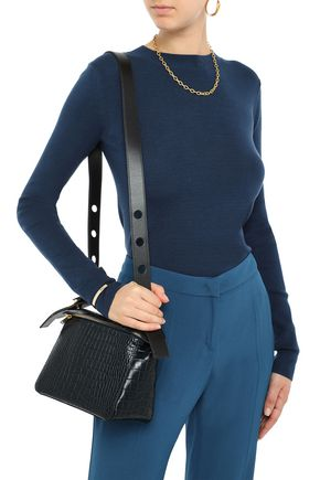 sophie-hulme-woman-bolt-small-croc-effect-leather-shoulder-bag-midnight-blue by sophie-hulme
