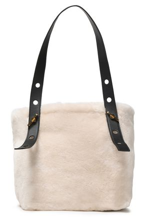 SOPHIE HULME Bolt leather-trimmed shearling tote