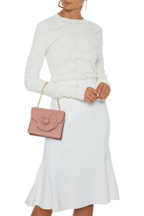Oscar De La Renta Shoulder OSCAR DE LA RENTA WOMAN FLORAL-APPLIQUÉD LEATHER SHOULDER BAG BLUSH