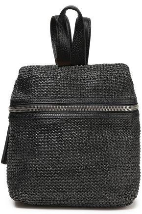 KARA Leather-paneled faux raffia woven backpack