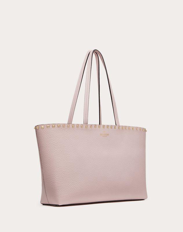 Small Rockstud Grainy Calfskin Tote Bag