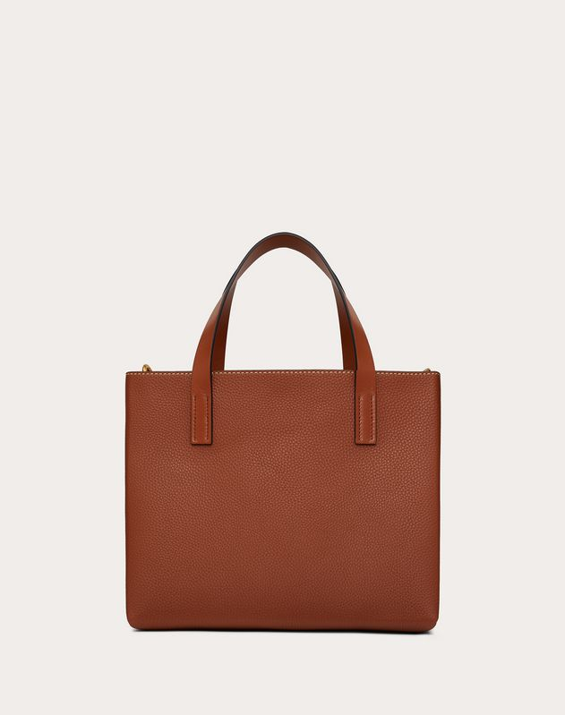 Small E/W VRING Grainy Calfskin Tote Bag