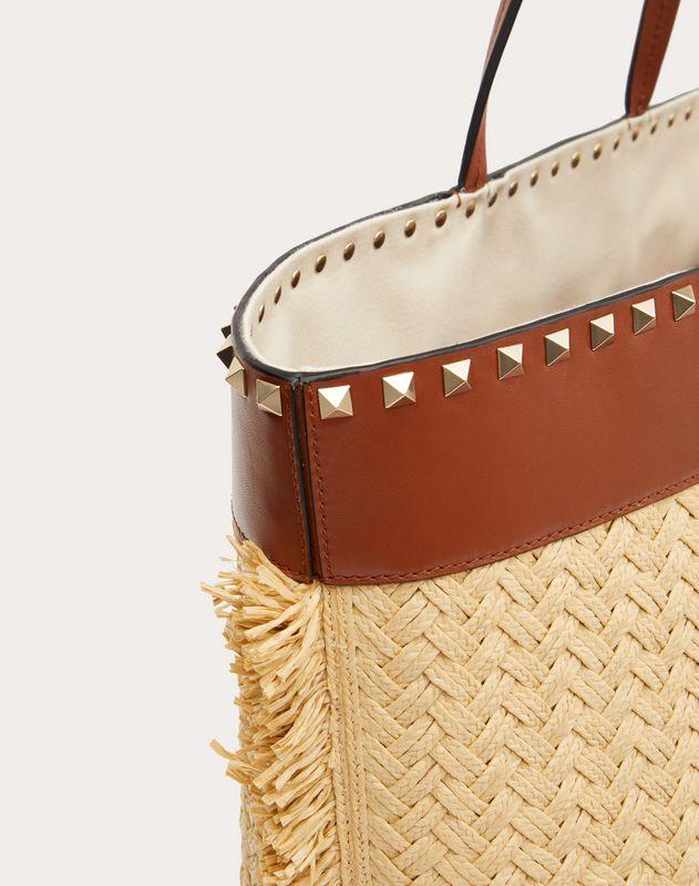 Rockstud Raffia Tote Bag