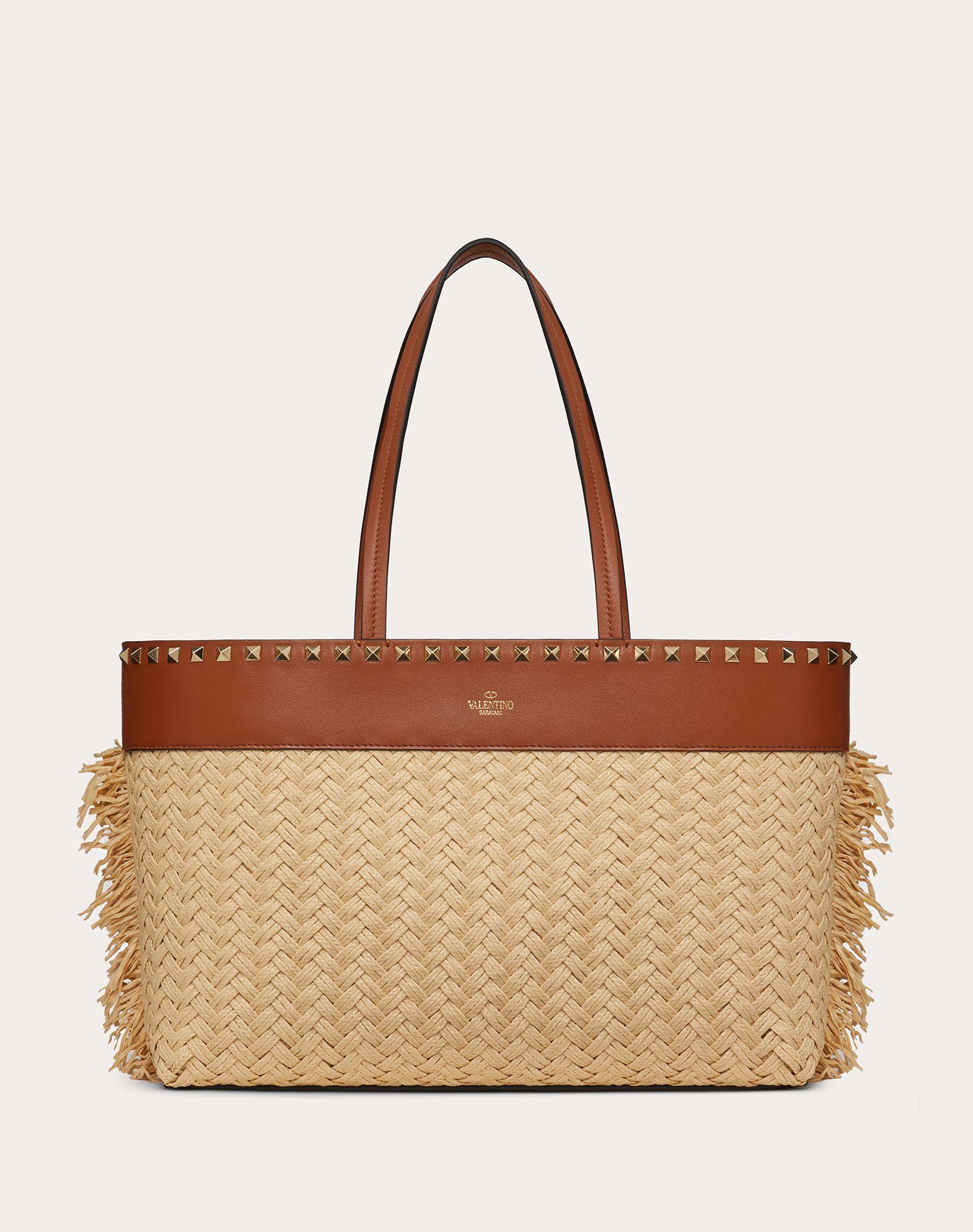 Small Rockstud Raffia Tote Bag