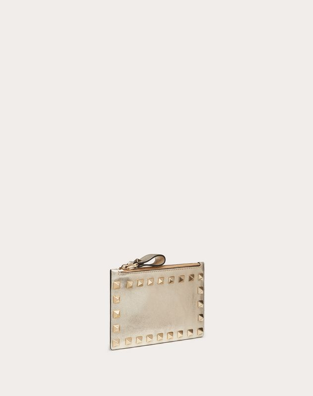 ROCKSTUD METALLIC CALFSKIN CARDHOLDER WITH ZIP