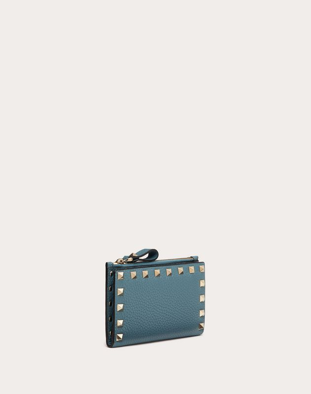 ROCKSTUD GRAINY CALFSKIN CARDHOLDER WITH ZIP