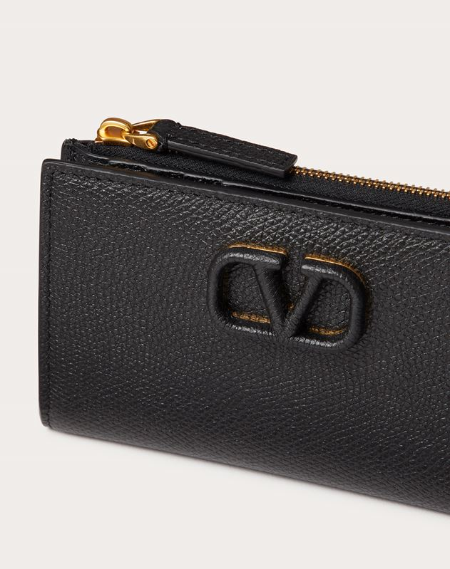 VSLING GRAINY CALFSKIN CARDHOLDER WITH ZIPPER