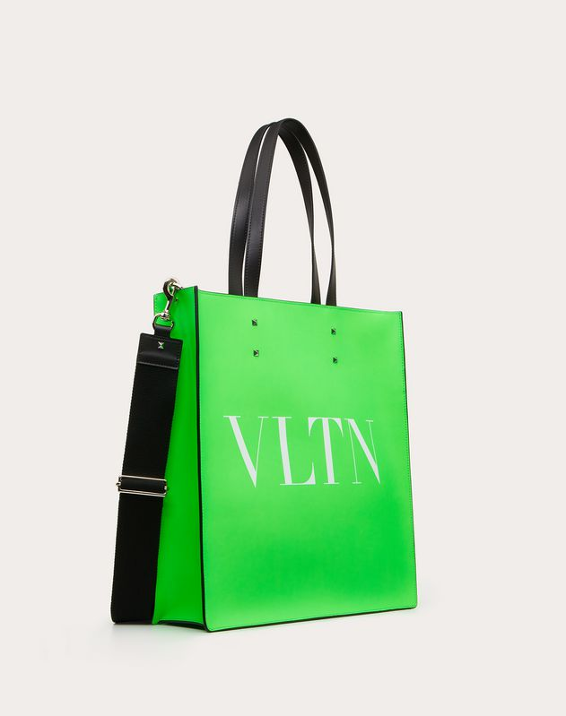 VLTN Fluorescent Leather Tote Bag
