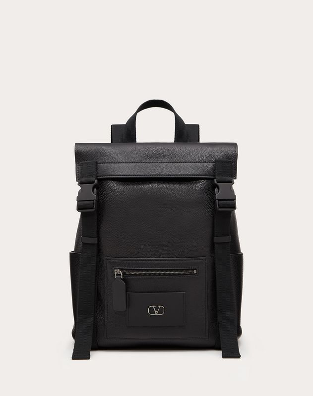 VLOGO Elk-Print Calfskin Leather Backpack