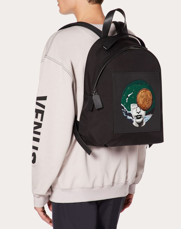Nylon Backpack with Planet Embroidery