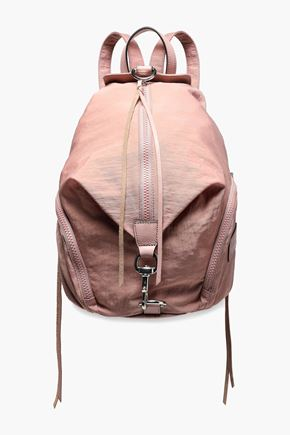REBECCA MINKOFF Julian leather-trimmed crinkled woven backpack