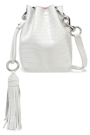 REBECCA MINKOFF Croc-effect glossed-leather bucket bag