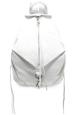 REBECCA MINKOFF حقيبة ظهر من الجلد بنمط التمساح مزينة بسحاب