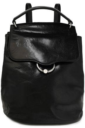 REBECCA MINKOFF Glossed cracked-leather backpack