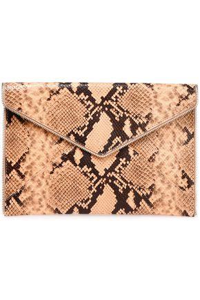 REBECCA MINKOFF Zip-embellished snake-effect leather envelope clutch