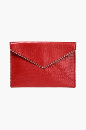 REBECCA MINKOFF Zip-embellished croc-effect leather envelope clutch