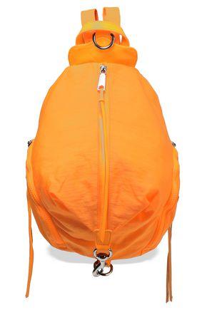 REBECCA MINKOFF حقيبة ظهر من قماش مقاوم للماء مزينة بالجلد