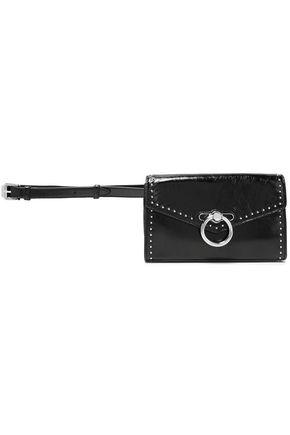 REBECCA MINKOFF Studded ring-embellished crinkled glossed-leather belt bag