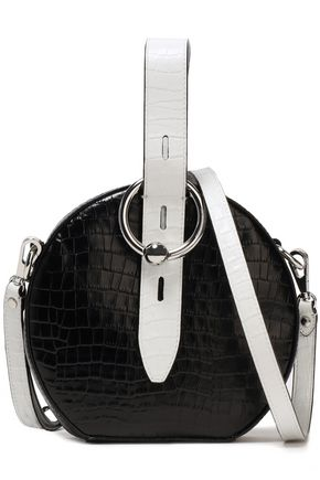 REBECCA MINKOFF Two-tone croc-effect leather shoulder bag