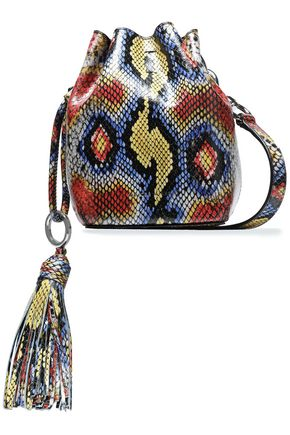 REBECCA MINKOFF Tasseled snake--effect leather bucket bag