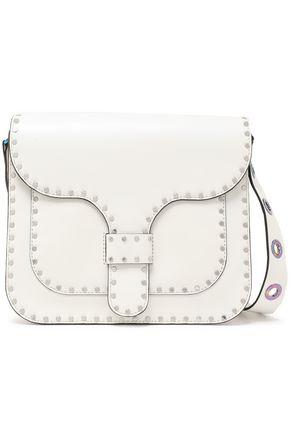 REBECCA MINKOFF Studded iridescent-effect eyelet-embellished leather shoulder bag