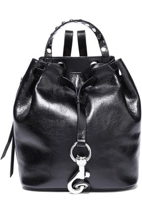 REBECCA MINKOFF Studded cracked patent-leather backpack
