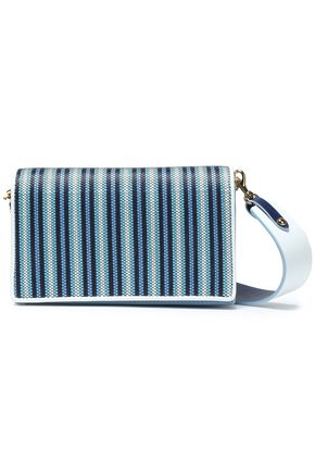 DIANE VON FURSTENBERG Soirée striped faux raffia-paneled leather shoulder bag