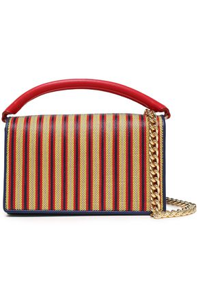 DIANE VON FURSTENBERG Bonne Soirée striped faux raffia-paneled leather shoulder bag