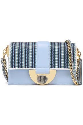 DIANE VON FURSTENBERG Stone Lock Bonne Journée striped faux raffia-paneled leather shoulder bag