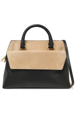 DIANE VON FURSTENBERG Two-tone suede and leather tote
