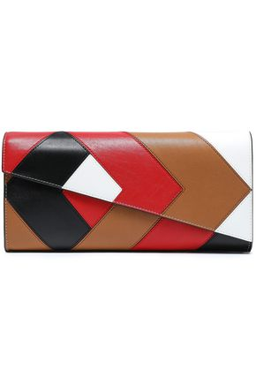 DIANE VON FURSTENBERG Color-block leather clutch