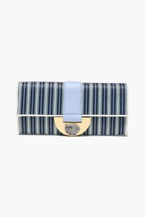 DIANE VON FURSTENBERG Embellished leather-trimmed striped faux raffia clutch