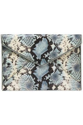 REBECCA MINKOFF Zip-embellished floral-print snake effect-leather envelope clutch