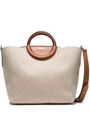 MICHAEL KORS COLLECTION حقيبة توت من الكنفا الكتاني مزينة بالجلد المضفر