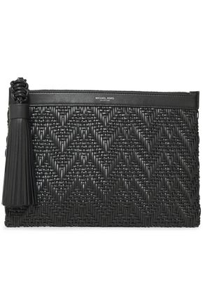 MICHAEL KORS COLLECTION Loren tassel-trimmed braided leather clutch