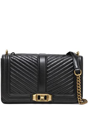 REBECCA MINKOFF Love studded quilted textured-leather shoulder bag
