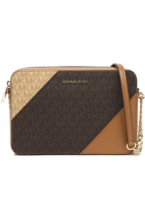 MICHAEL MICHAEL KORS Monogram-print faux textured and smooth-leather shoulder bag