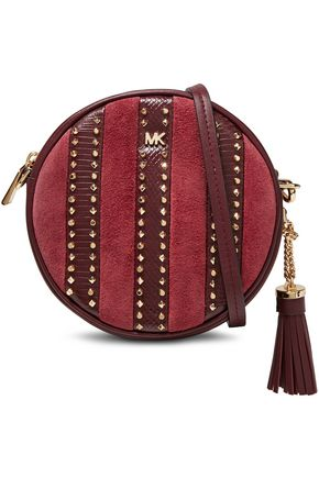 MICHAEL MICHAEL KORS Studded paneled leather and suede shoulder bag