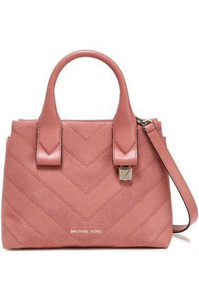 MICHAEL MICHAEL KORS Paneled suede and textured-leather shoulder bag